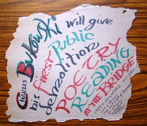 Handmade Poster Ideas - handmade poster for bukowski s known poetry reading