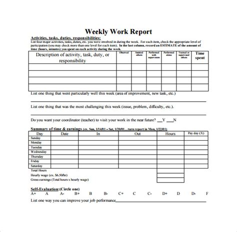 weekly work progress report template 18 sle weekly report templates to for free
