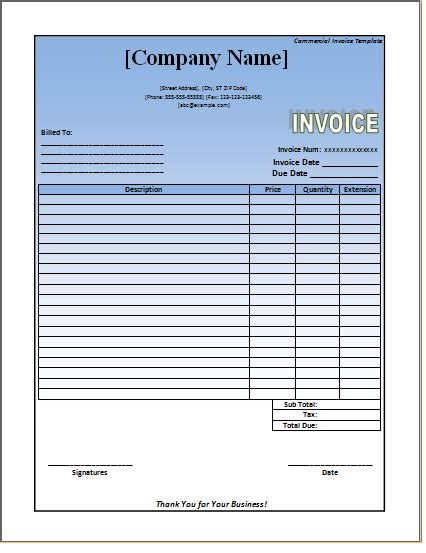 commercial invoice template word doc commercial invoice template excel word templates