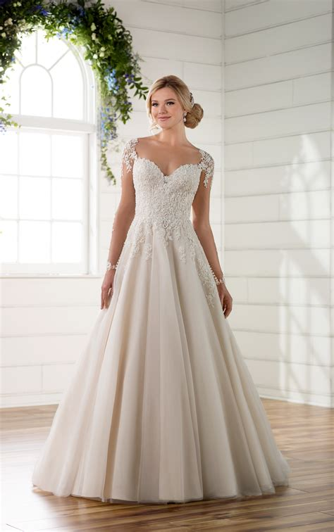 sleeve wedding dresses illusion sleeve wedding dress with keyhole back essense