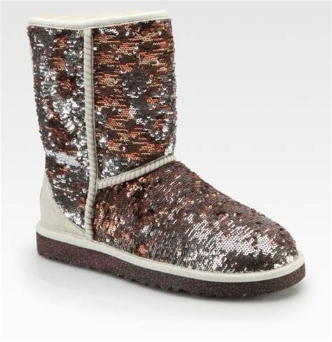 ugg classic sequincoated suede camo boots in gold