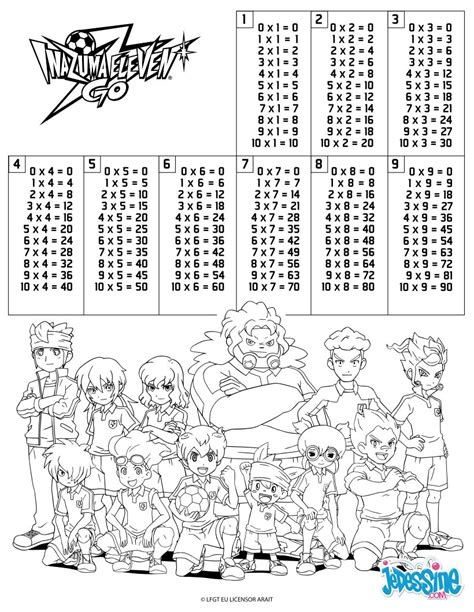 coloring pages for multiplication tables multiplication table inazuma eleven coloring pages