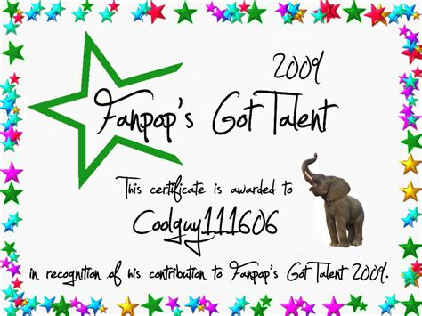 Talent Show Certificate Template by Fanpop S Got Talent Images Coolguy111606 Certificate Hd