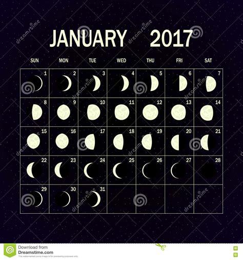 Calendar W Moon Phases Moon Phases Calendar For 2017 January Vector