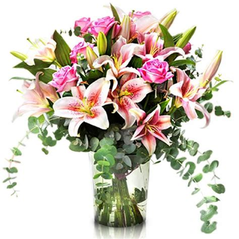 fiori canada pink bouquet of lilies and roses international delivery