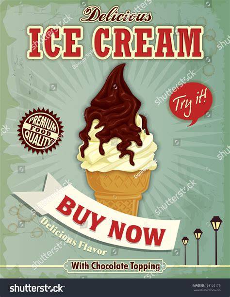 design poster ice cream vintage ice cream poster design stock vector illustration