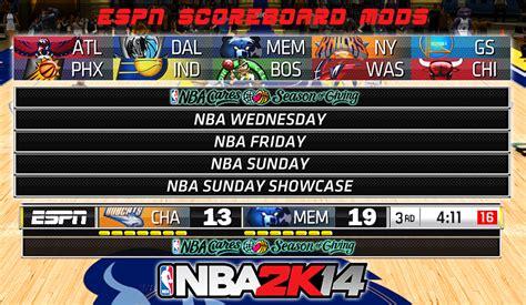 espn nba scoreboard nba 2k14 custom espn scoreboard mods nba2k org