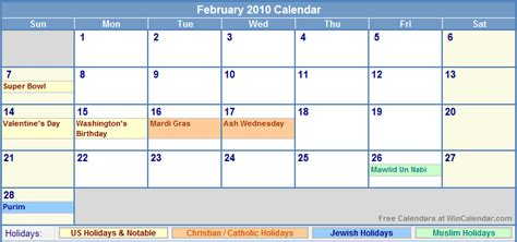 February 2010 Calendar February 2010 Calendar With Holidays As Picture