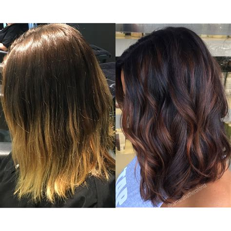 before and after hair color pictures balayage low light winterizing hair color before and after