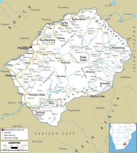 lesotho map lesoto capitale mappa