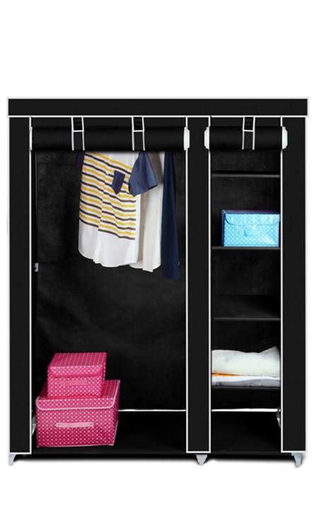 Black Canvas Wardrobe by Black Canvas Bedroom Clothing Wardrobe With Hanging