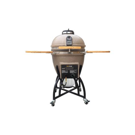 vision grills kamado char gas dual fuel charcoal gas grill in taupe with grill cover s t4c1d1 h
