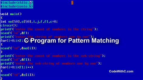pattern matching in java program c program for pattern matching code with c