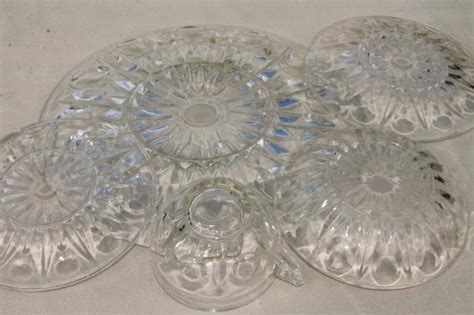 vintage glass pattern names vintage dot and point pattern pressed glass dishes plates