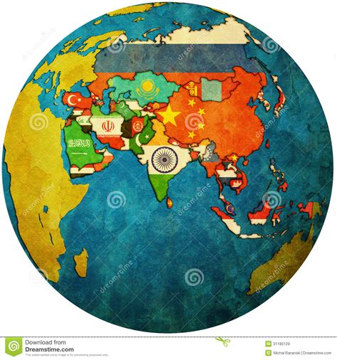 globe map of asia political map of asia on globe map stock illustration
