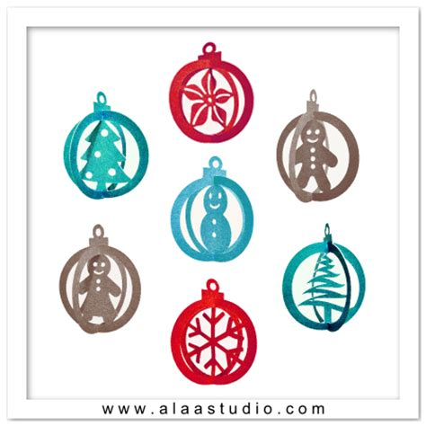 printable ornaments pdf 3d christmas ornaments svg dxf pdf cutting files by alaa