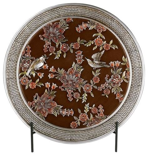 chinoiserie charger with stand traditional decorative