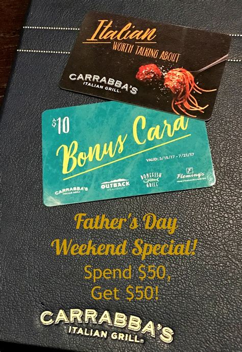 Carrabbas Gift Card - carrabba s gift card lamoureph blog