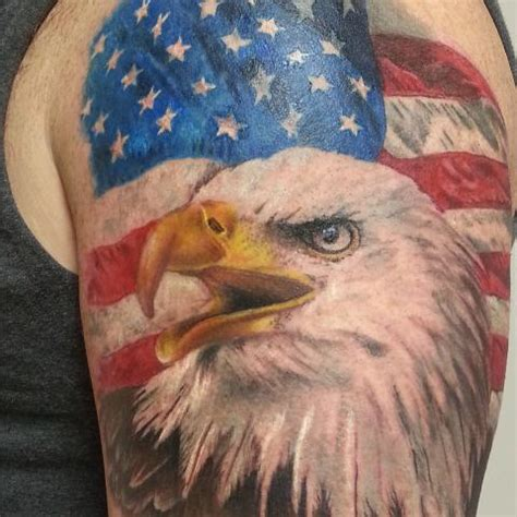tattoo eagle color usa flag with rifles patriotic tattoo on shoulder