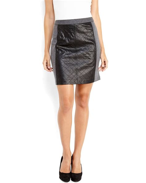 laundry by shelli segal leather panel mini skirt in gray