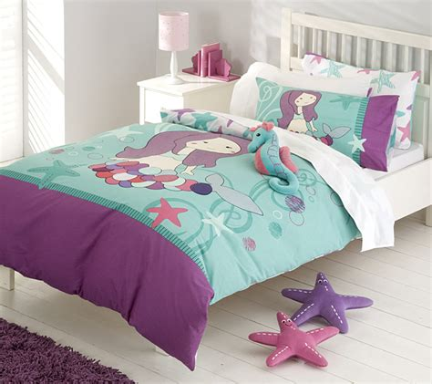 Mermaid Bedding In Purple Turquoise Tones Under The Mermaid Bedding Set