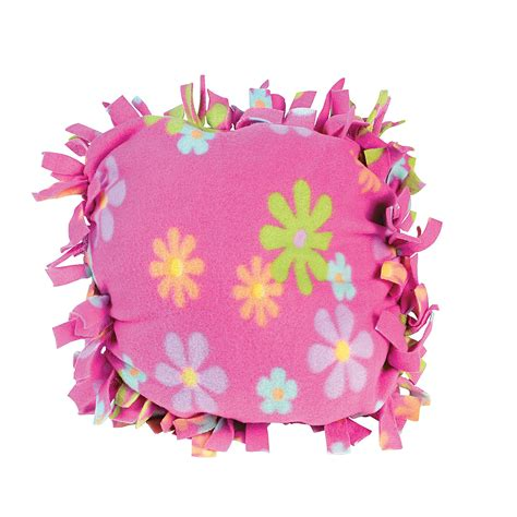 Fleece Tie Pillow by Fleece Flower Pillow Craft Kit Trading