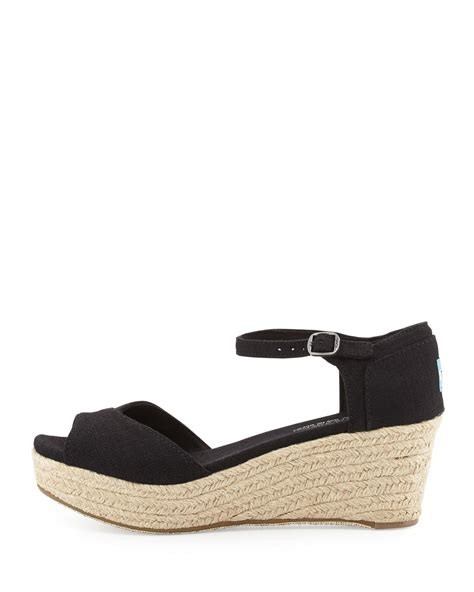 wedge shoes for toms canvas platform wedge sandal in black lyst