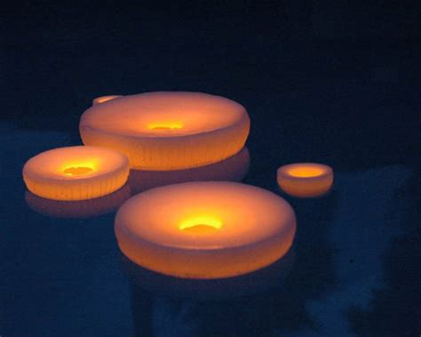 floating reusable 3 quot hollow wax luminary white