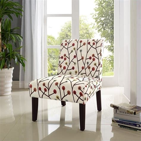 Floral Living Room Chairs Accent Slipper Chair In Ivory Floral Pattern Da164
