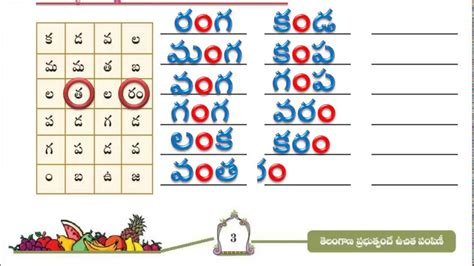 up letters in telugu 4th class telugu page no 3 telugu words from