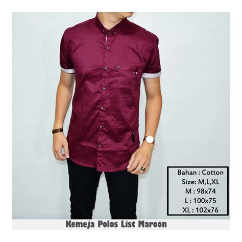 Kemeja Navy List Maroon jual kemeja polos warna maroon pria pakaian pria