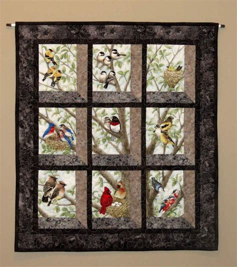 pattern wall frame quilted and pieced wall hanging attic window birds in