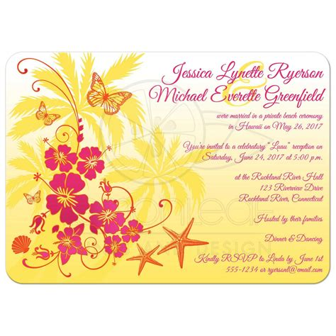 Orange Theme Wedding Invitations by Post Wedding Reception Invitation Yellow Fuchsia