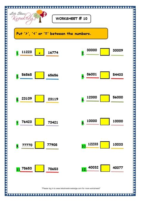 Comparing 3 Digit Numbers Worksheets by Grade 3 Maths Worksheets 5 Digit Numbers 2 12 Comparing 5