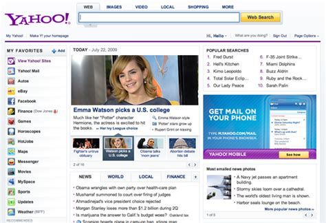 yahoo has a new home page sanziro