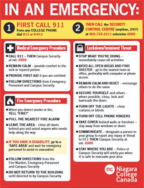 emergency protocol template emergency guidelines and poster cus safety niagara