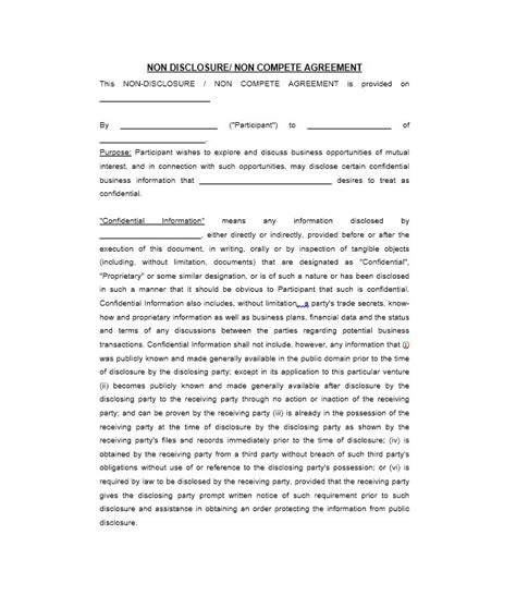 40 non disclosure agreement templates sles forms