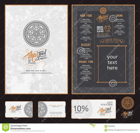 thai food restaurant menu stock vector image of design