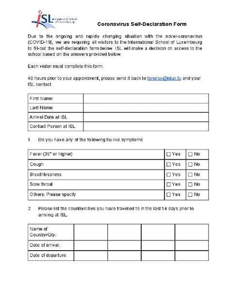 [PDF] Coronavirus Self-Declaration Form PDF Download