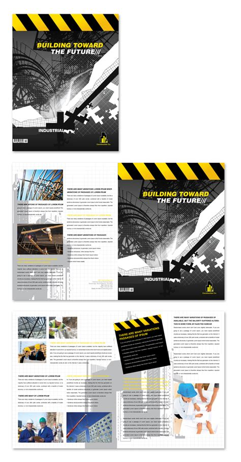 construction flyer templates industrial commercial construction brochure template