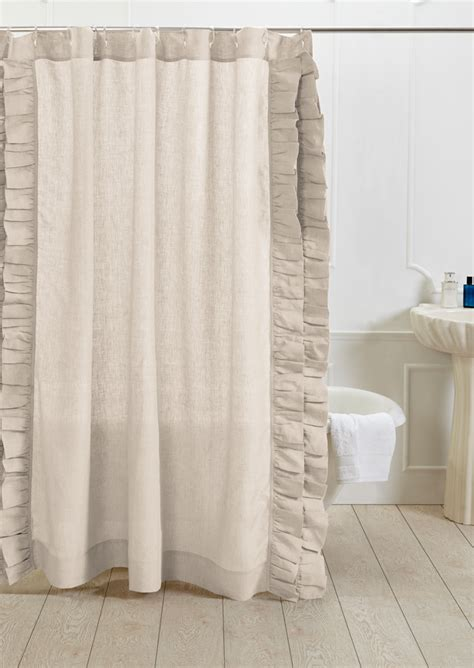 Linen Shower Curtains Basillo Linen Shower Curtain Ivory