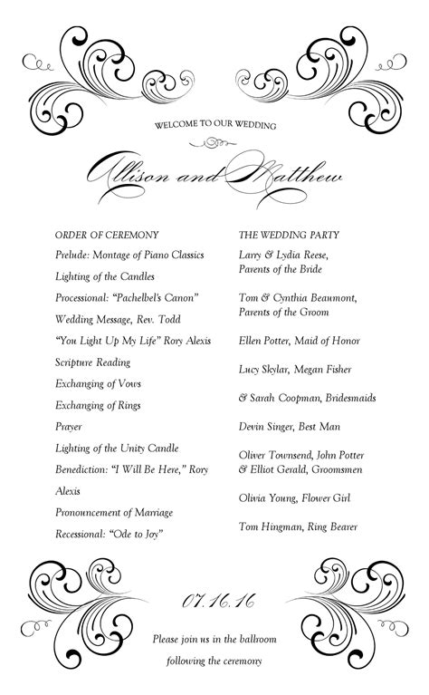wedding reception program template best photos of free wedding program designs wedding