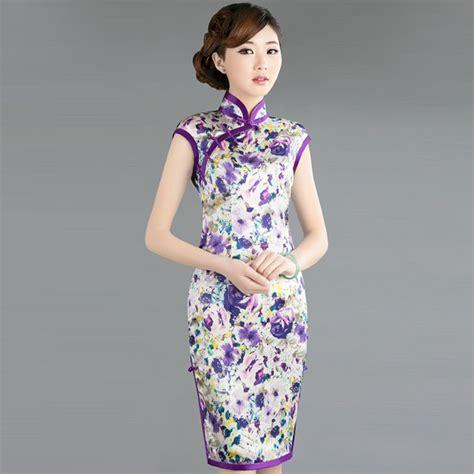 Cheongsam Top Purple Blue Size Lxl 1 Purple Cheongsam Silk Knee Navy Blue 1 Traditional