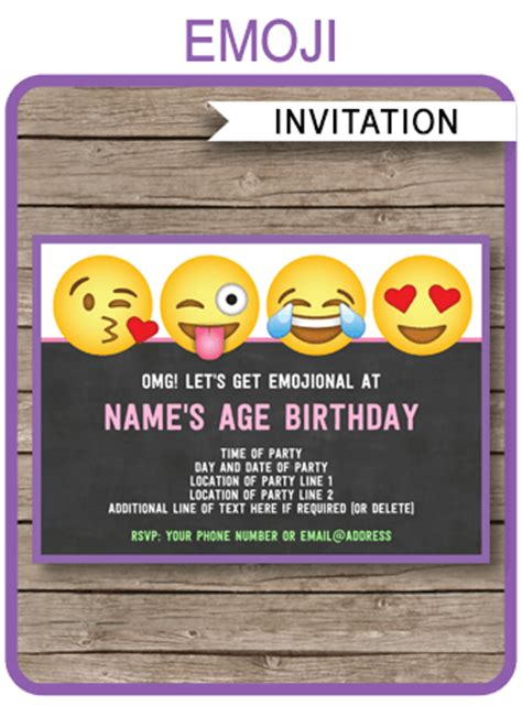 Emoji Party Invitations Template Printable Emoji Theme Invite Emoji Birthday Invitation Template