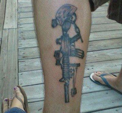 tattoo extreme carbine grey ink army tattoo on leg