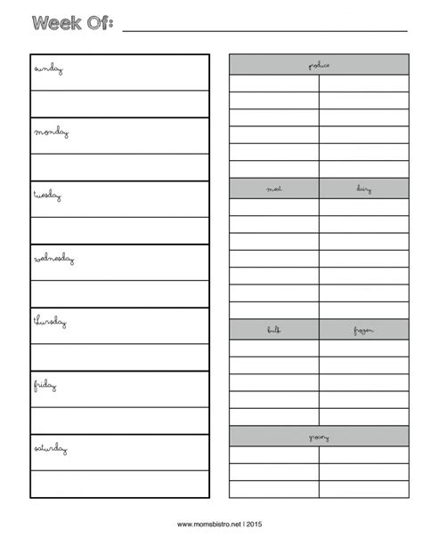 printable monthly shopping list weekly menu planner with grocery list new febrary 2015