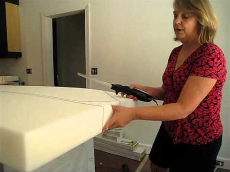 cutting upholstery foam cutting upholstery foam at home youtube