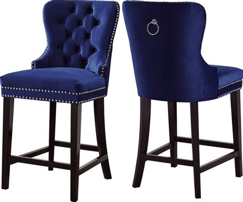 Tufted Nailhead Bar Stools by Axton Transitional Button Tufted Navy Velvet Bar Stool