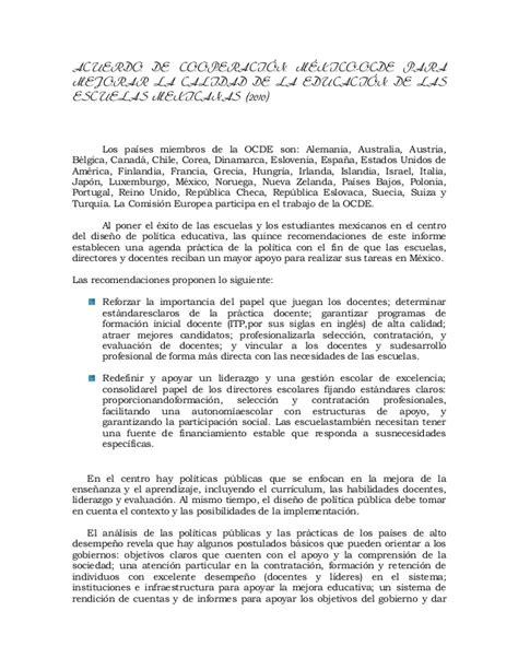 resumen acuerdo de cooperaci 243 n m 233 xico ocde para mejorar la calida