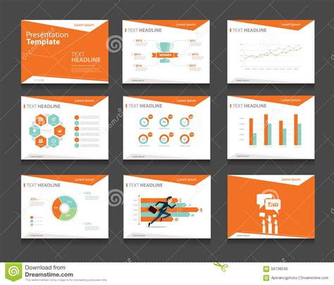Orange Infographic Business Presentation Template Set Slideshow Design For Powerpoint